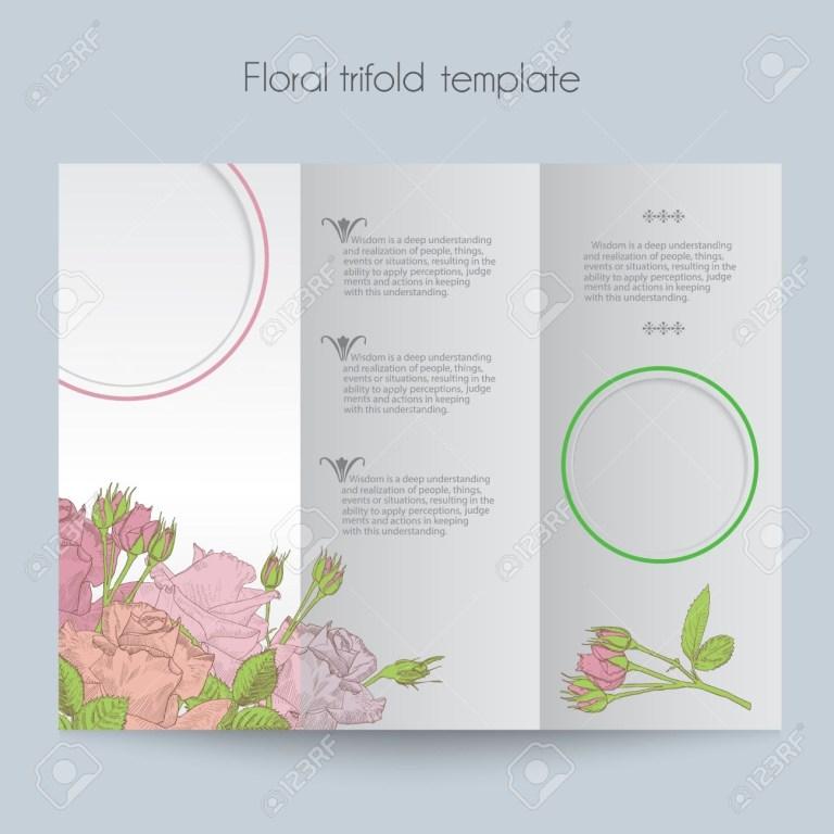floral roses template tri fold mockup for brochure menu wedding