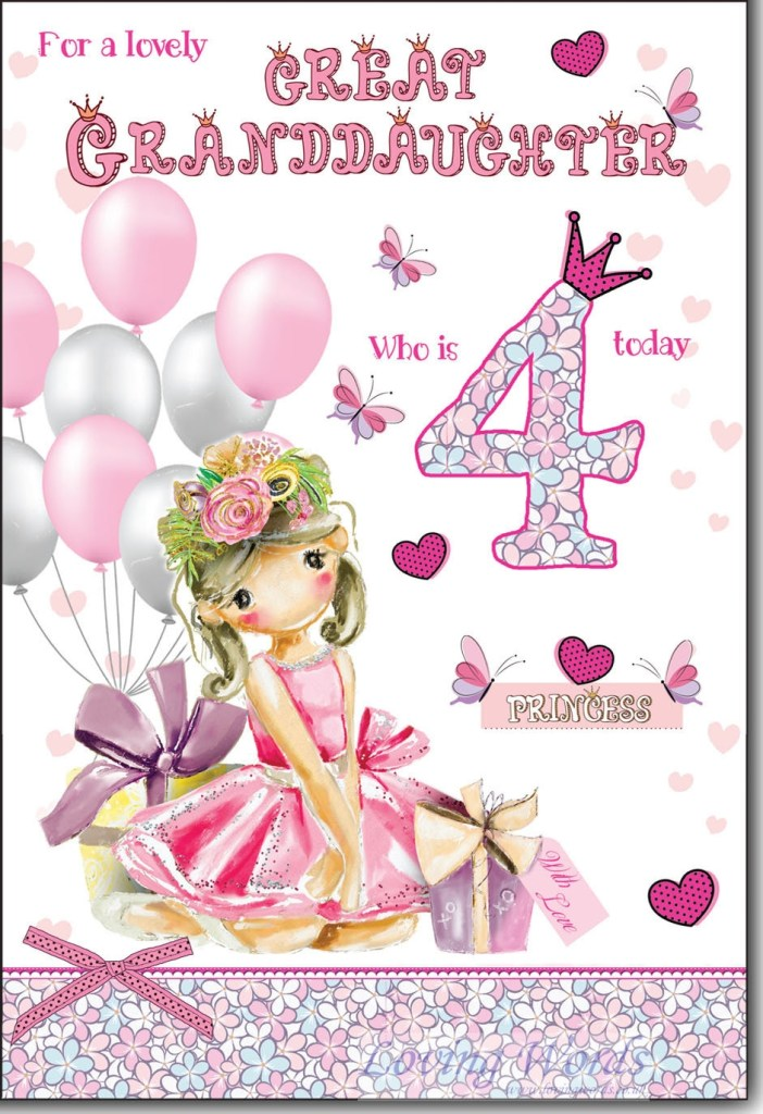 for great granddaughter 4th birthday greeting cards