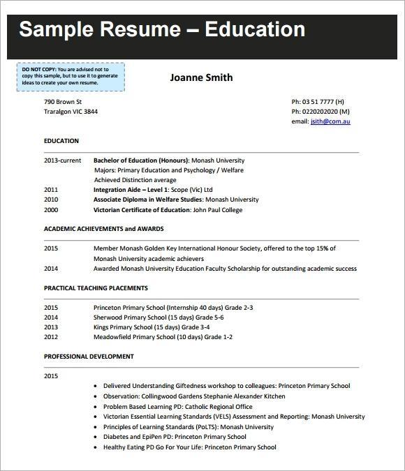 free 8 sample teaching cv templates in pdf ms word