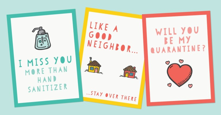 funny printable quarantine cards for social distancing hey