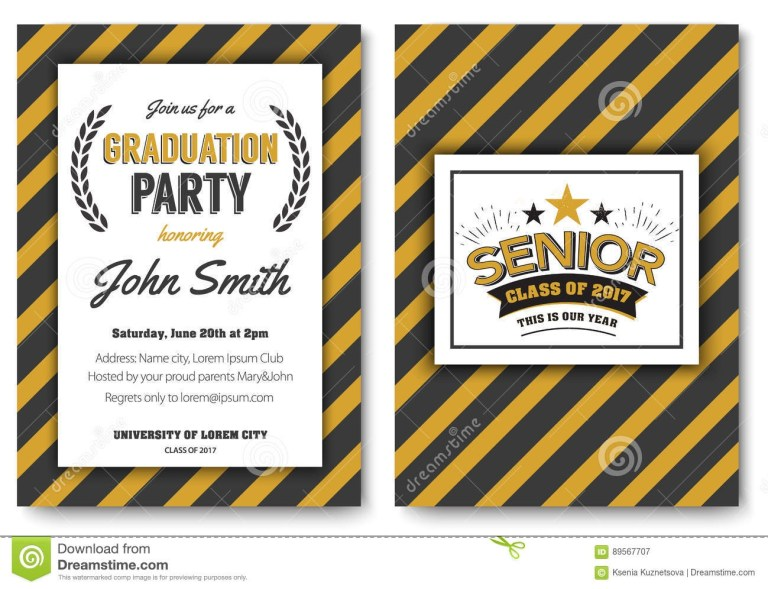 graduation party vector template invitation stock vector