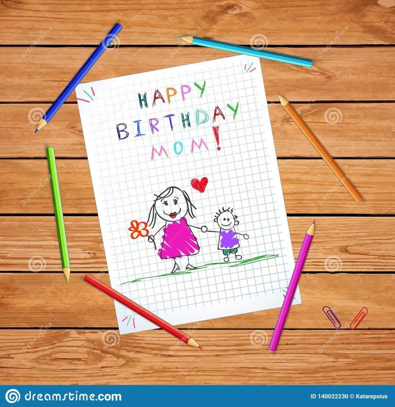 happy birthday mom children hand drawn card stock