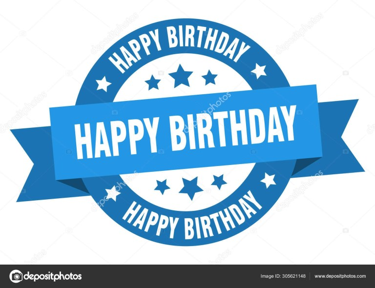 happy birthday ribbon happy birthday round blue sign happy birthday 305621148