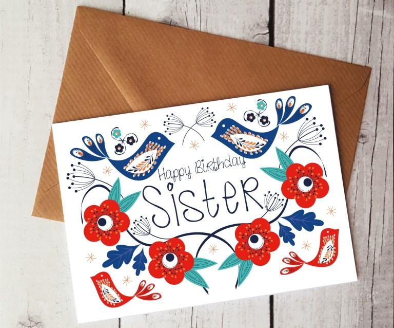 happy birthday sister card handmade card sister gift