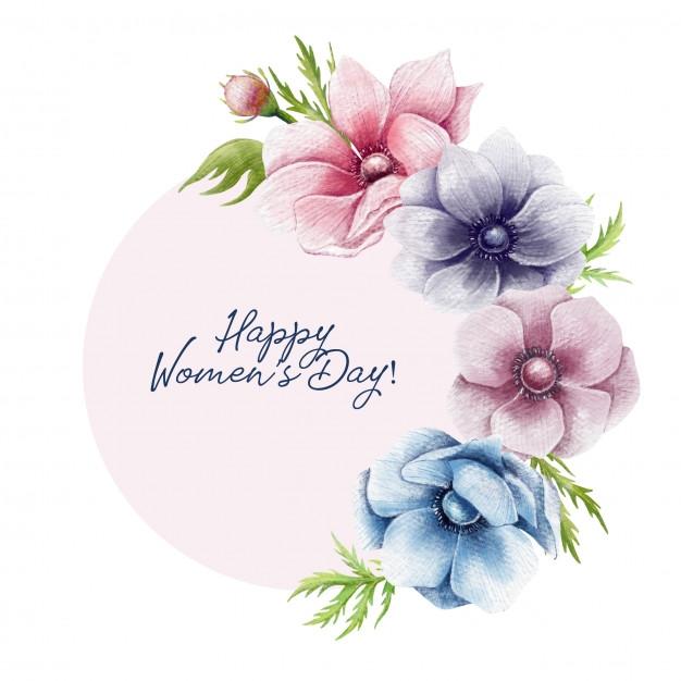 happy womens day floral border premium vector