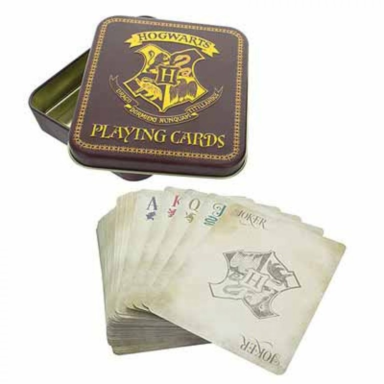 harry potter playing cards in a tin blue