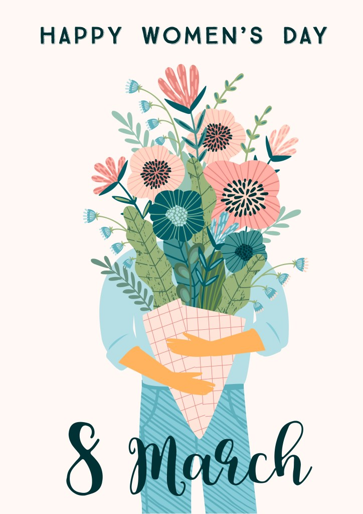 international women s day vector template with bouquet of
