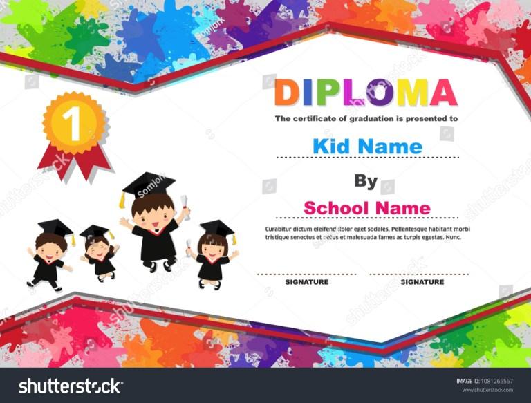 kids graduation certificate background design