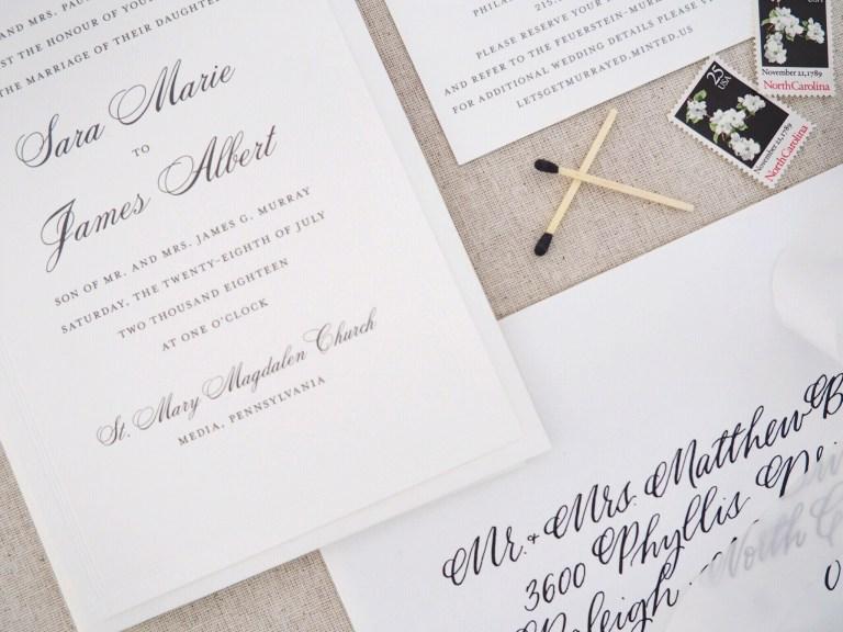 lets address it calligraphy vs printed wedding invitation