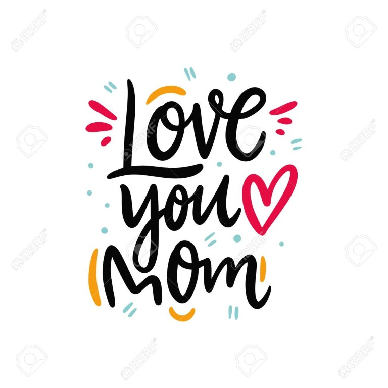 love you mom happy mothers day hand drawn vector lettering
