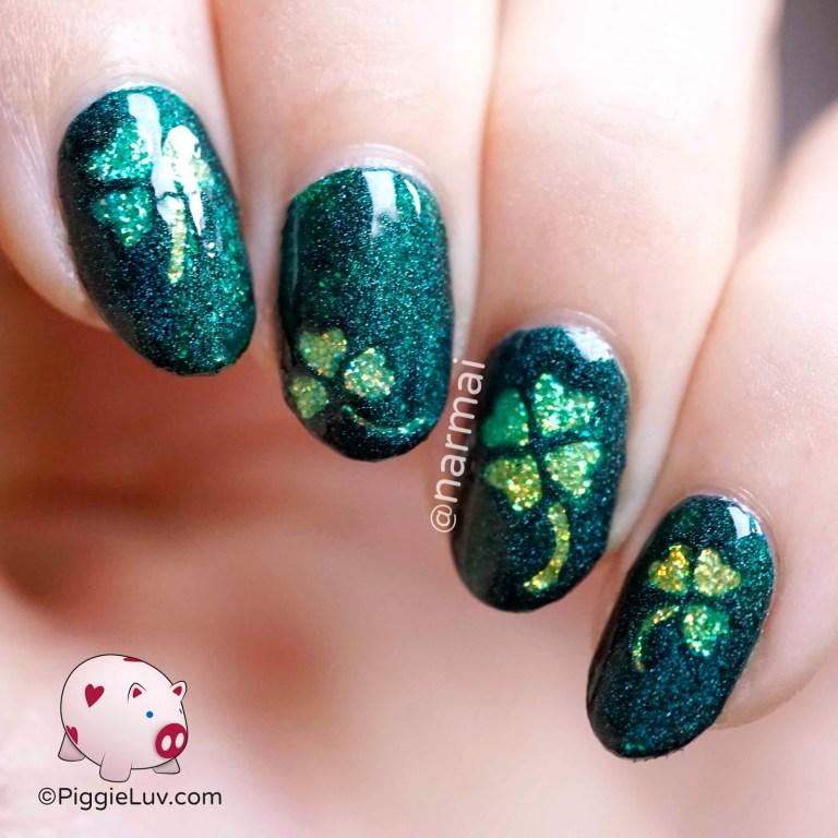 piggieluv glitter shamrocks nail art for st patricks