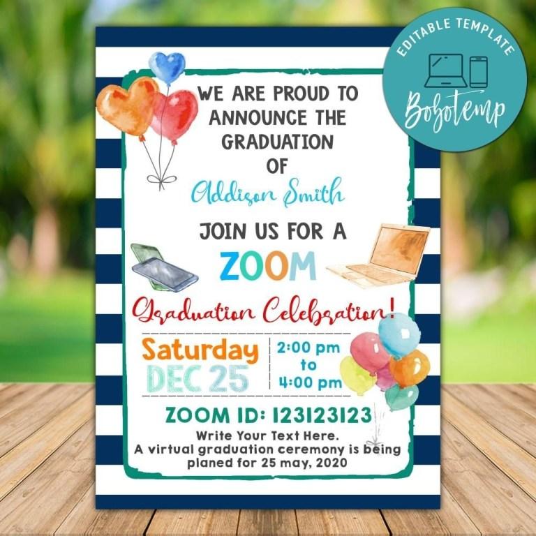 printable zoom graduation celebration invitation instant download