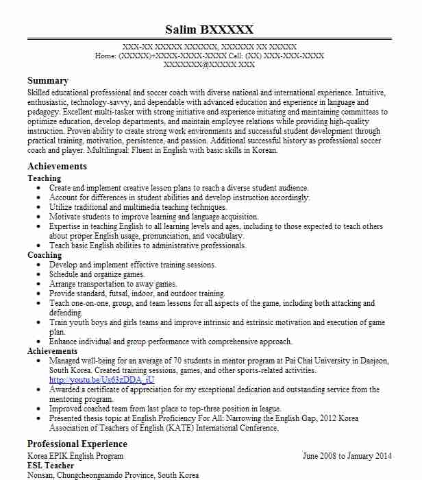 resumes for esl teachers free resume templates