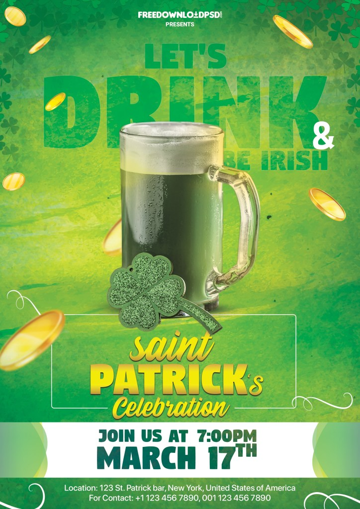 st patrick day flyer psd template freedownloadpsd