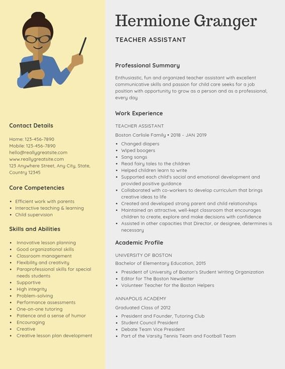 teacher assistant resume samples templates pdfword