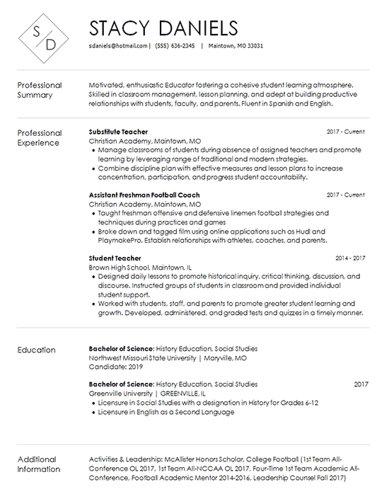 teacher resume template substitute and coach