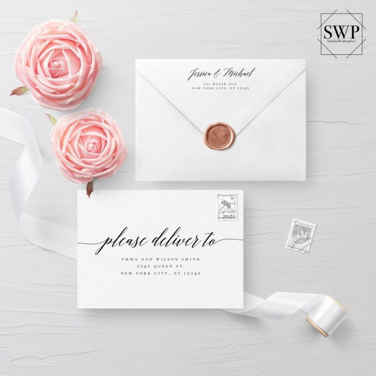 template print at home modern calligraphy envelope