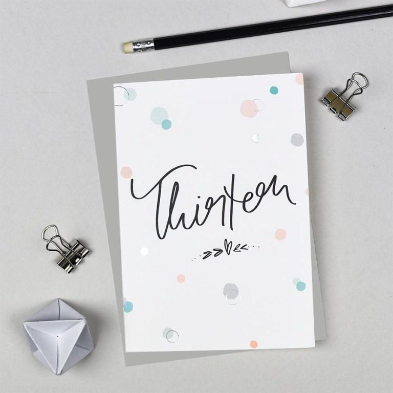thirteen thirteenth birthday card