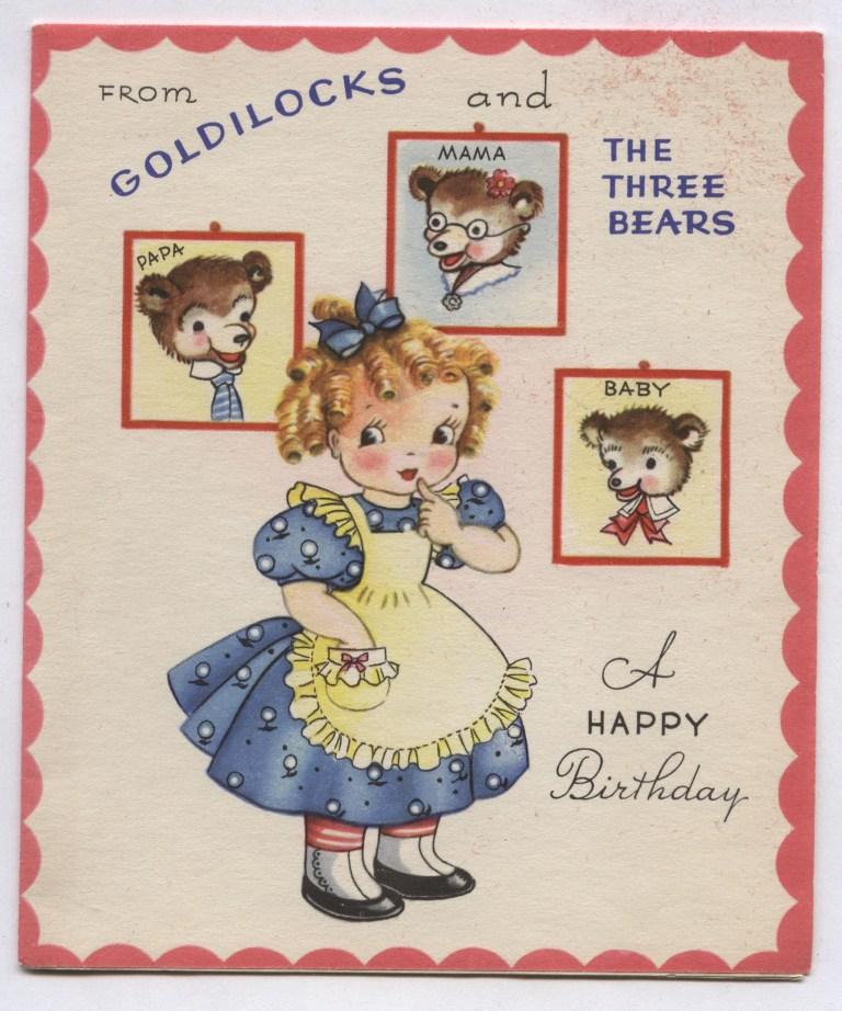 vintage birthday greetings from goldilocks the three