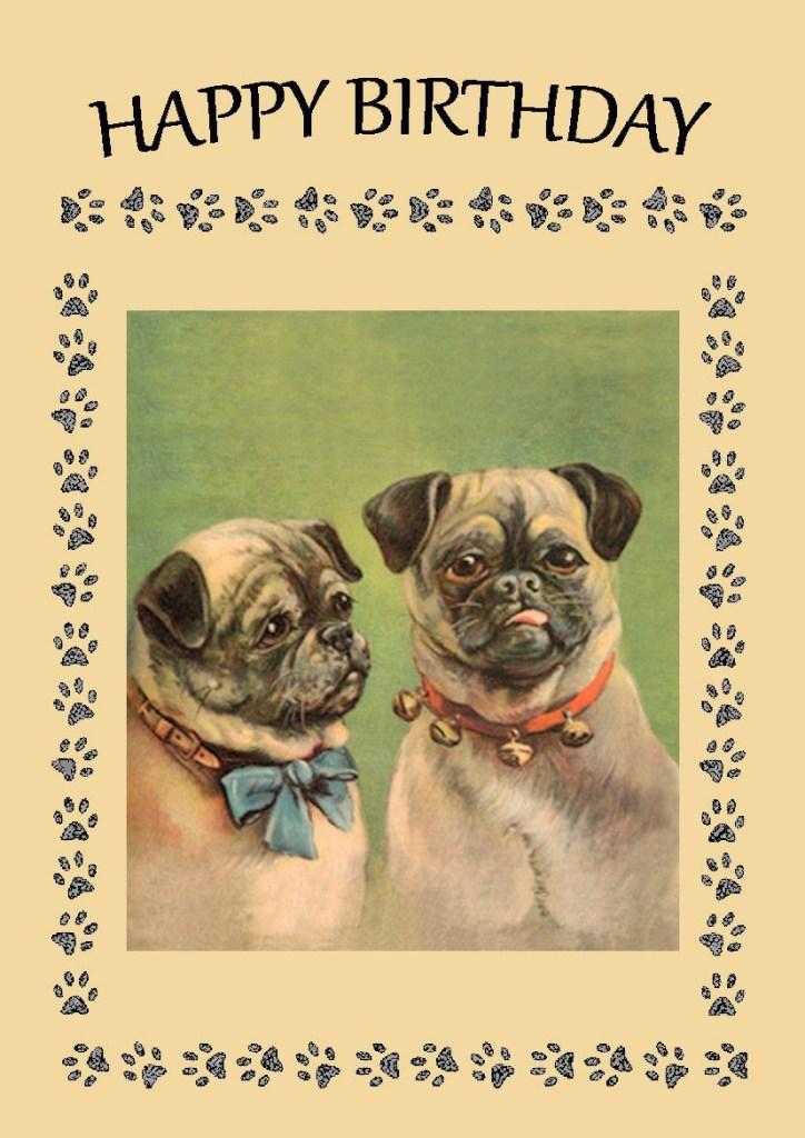 vintage pug birthday card i love pugs