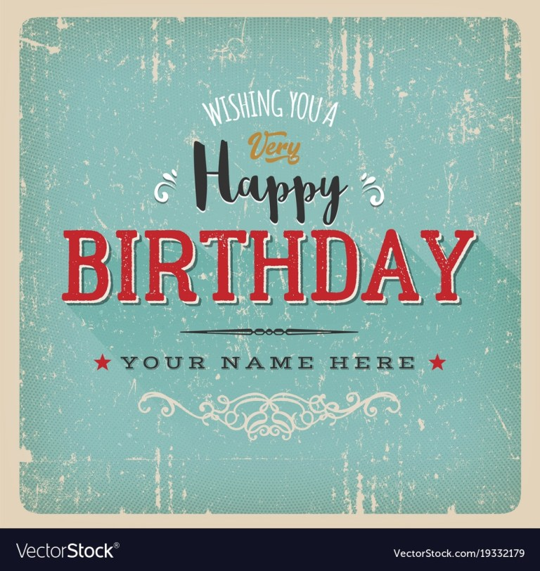 vintage retro birthday card royalty free vector image