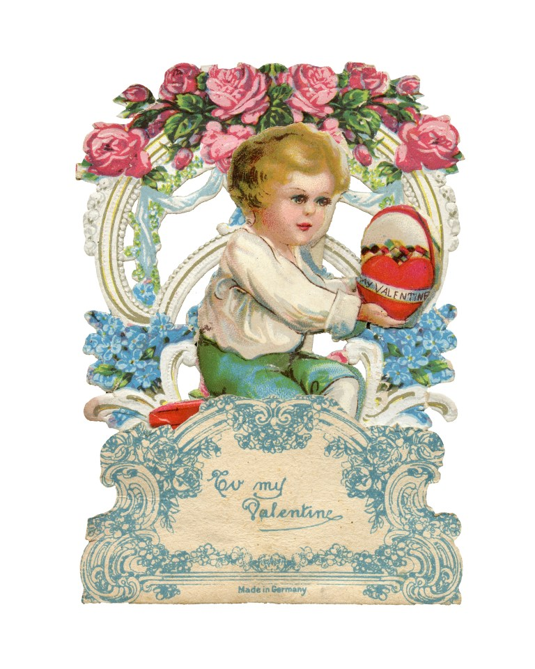 vintage valentines day pop up old fashion greeting card