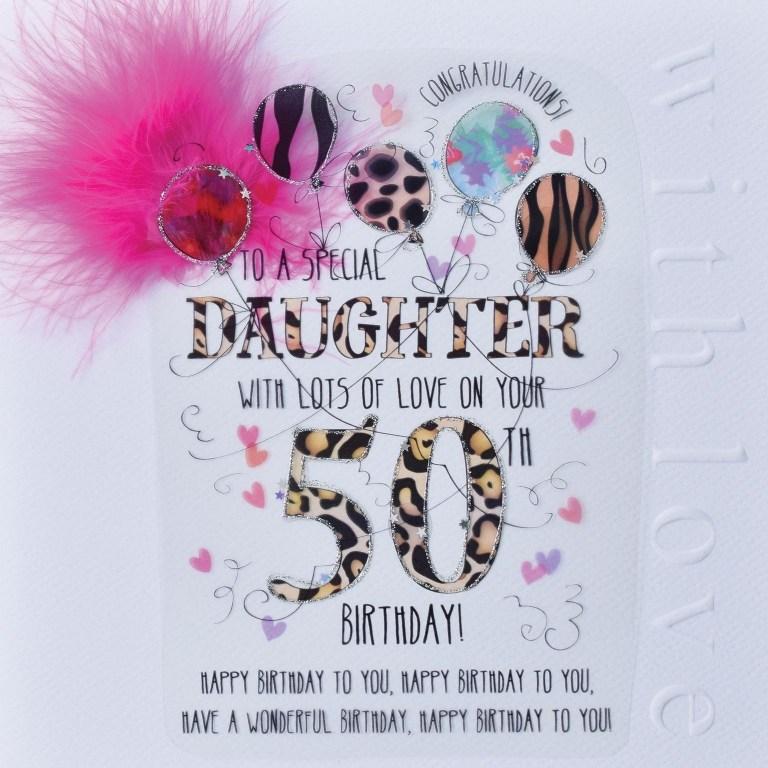 wjb cloud 9 daughter 50th birthday card