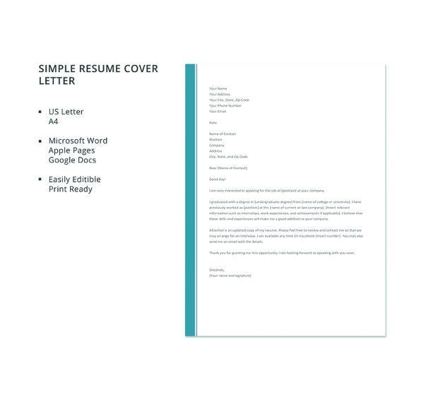 54 simple cover letter templates pdf doc free