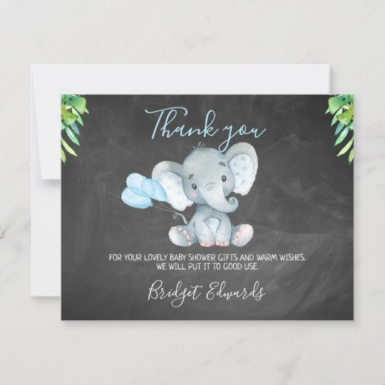 chalkboard elephant ba shower thank you card zazzle
