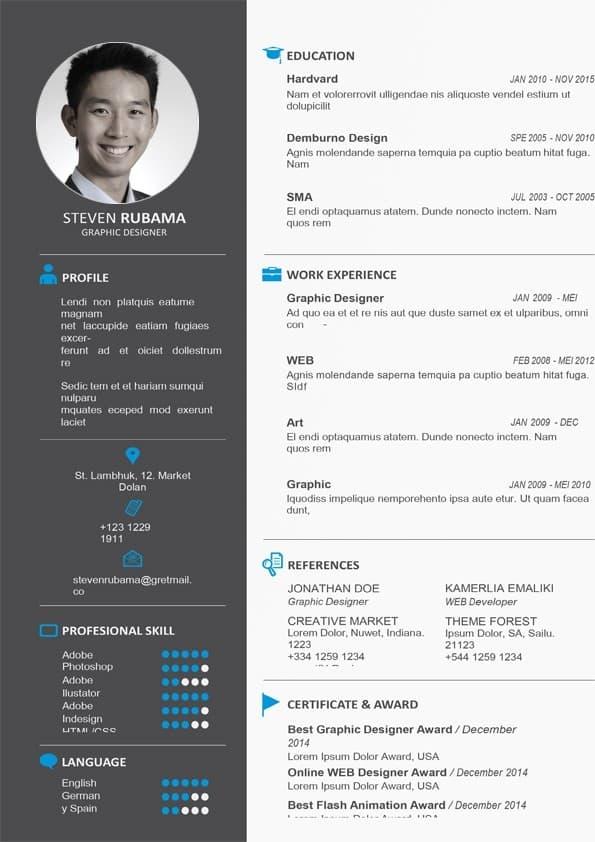 clean design resume template download for word