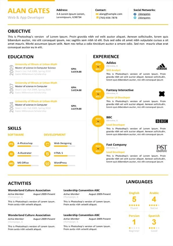 clean developer resume template download for word