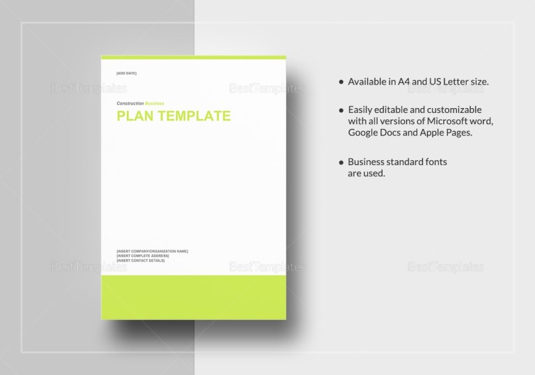 construction business plan template in word google docs