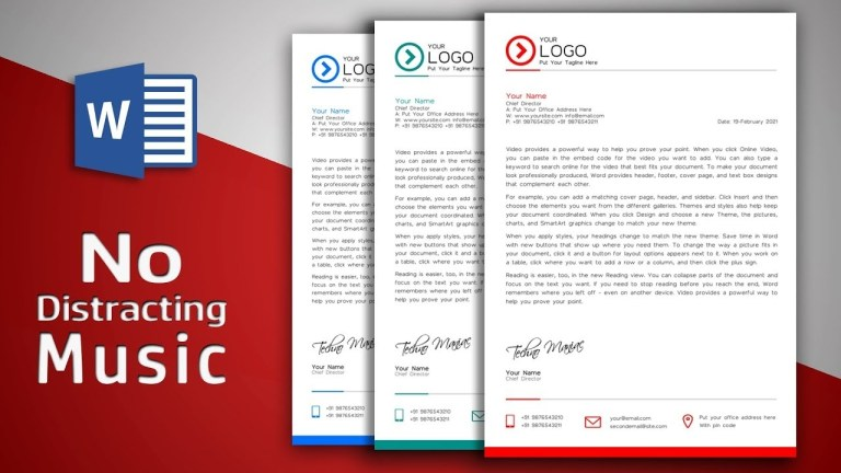 create modern letterhead in ms word no distracting music