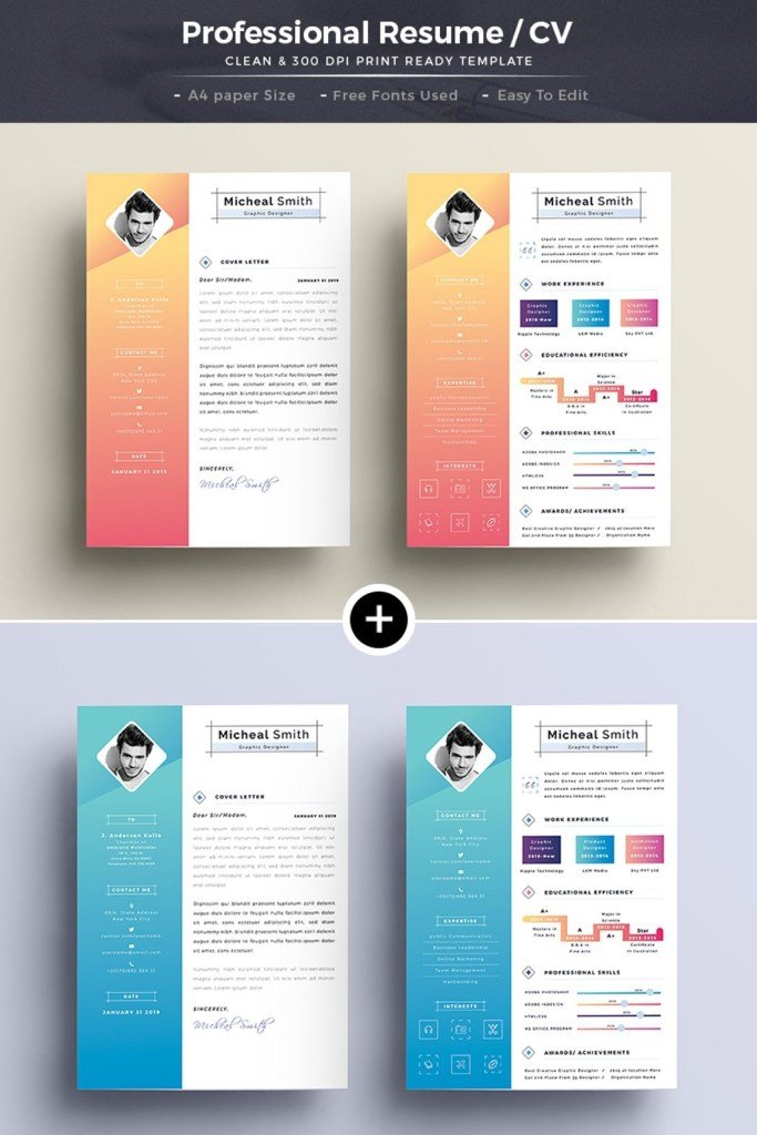 creative professional resume template 66140