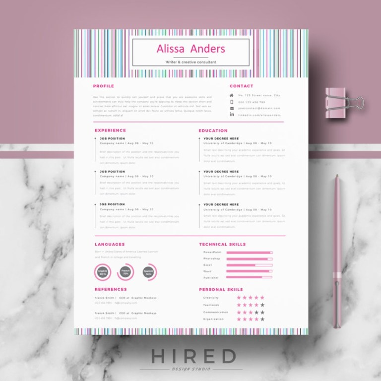 creative resume template for ms word alissa hired