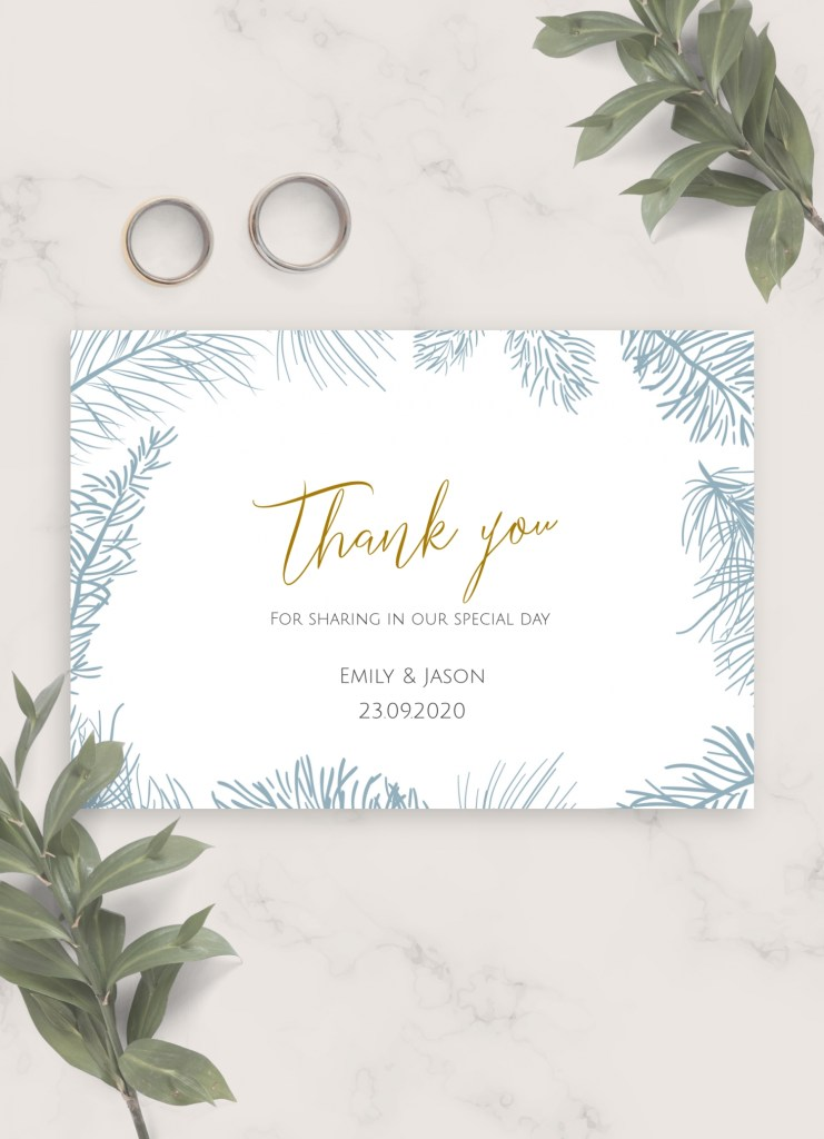 download printable fir branch winter wedding thank you