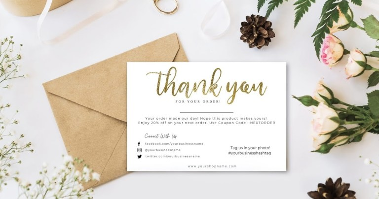 editable business thank you card template faux gold foil