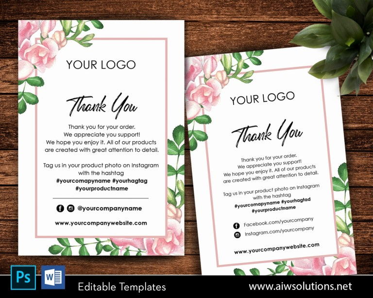 editable thank you card