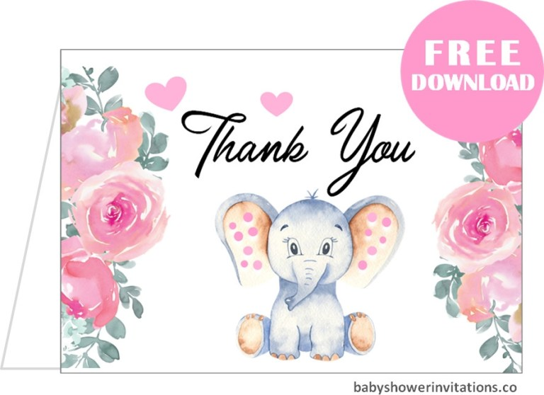 free ba shower thank you cards templates printables