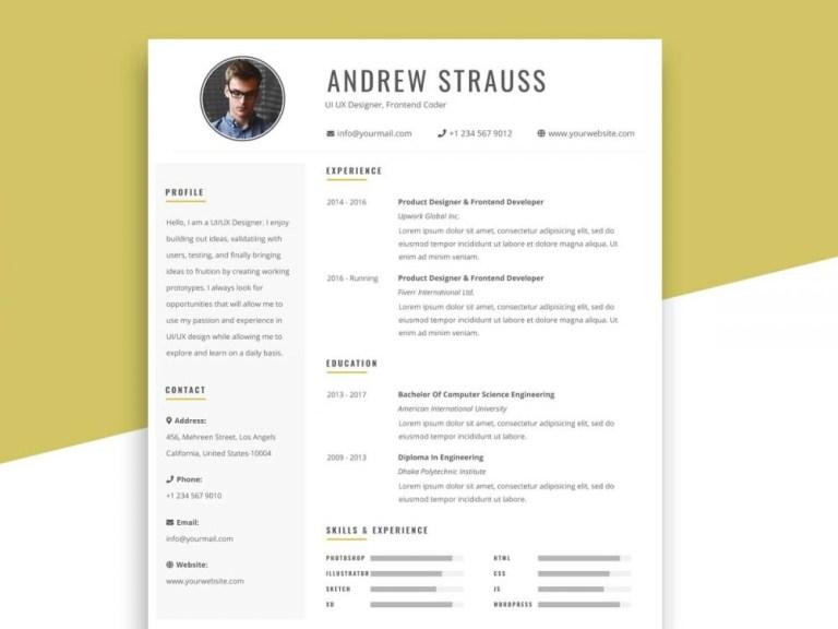 free simple resume template in psd format resumekraft