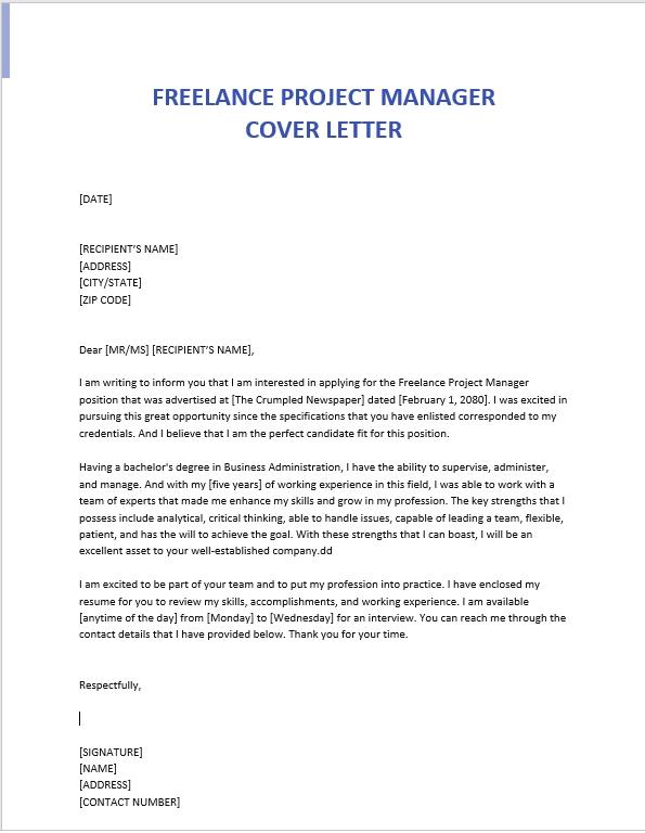 freelance job application cover letter sample cv