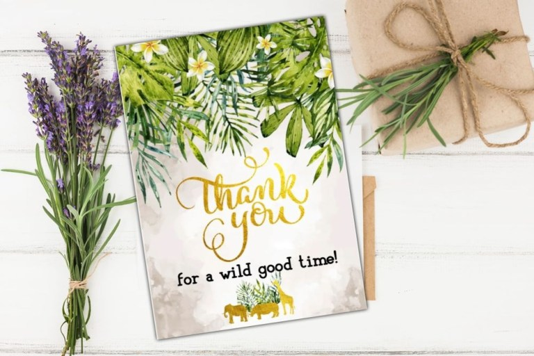 gold safari ba shower thank you card template diy bobotemp