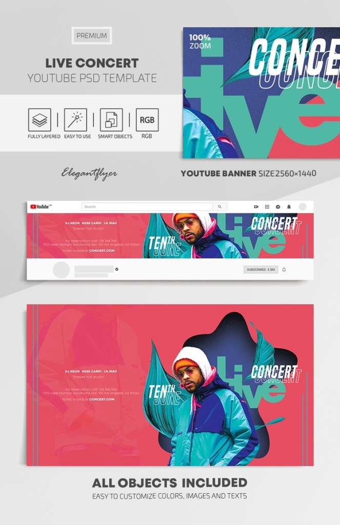 live concert youtube channel banner psd template