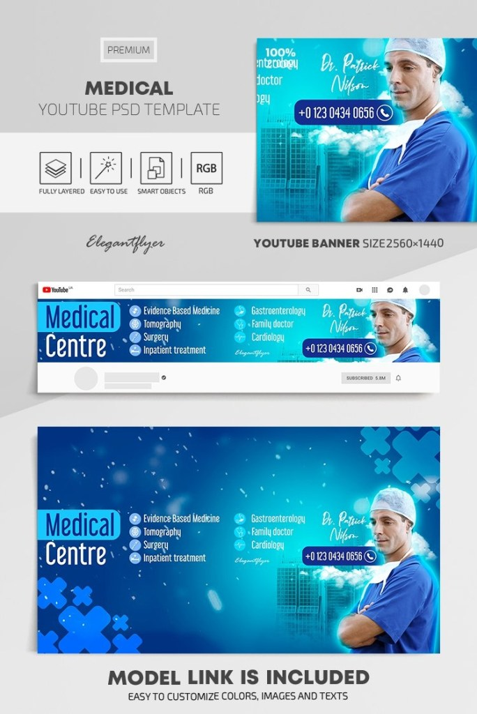 medical youtube channel banner psd template