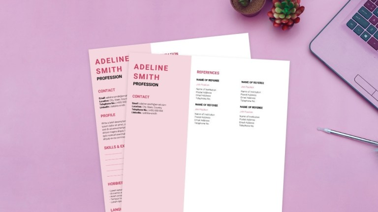 pink aesthetic cv template entry level instant download