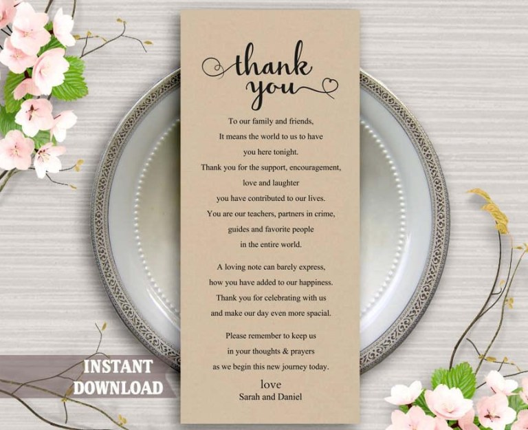 printable thank you place card wedding thank you card