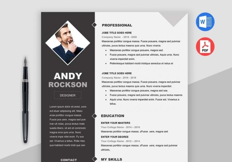 professional clean and simple fashion resume template
