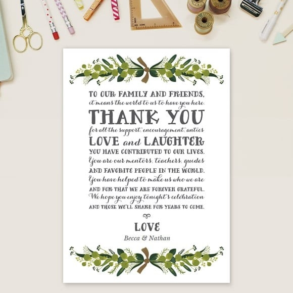romantic wreath thank you message card basic invite