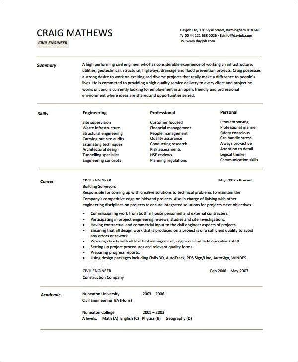 sample resume for civil engineering student example career