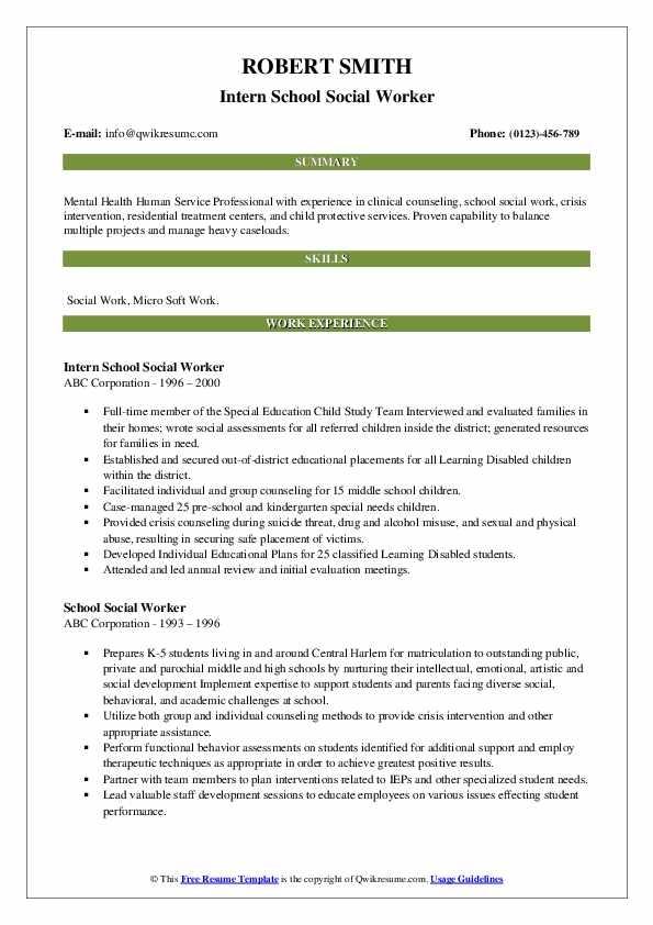 school social worker resume samples qwikresume